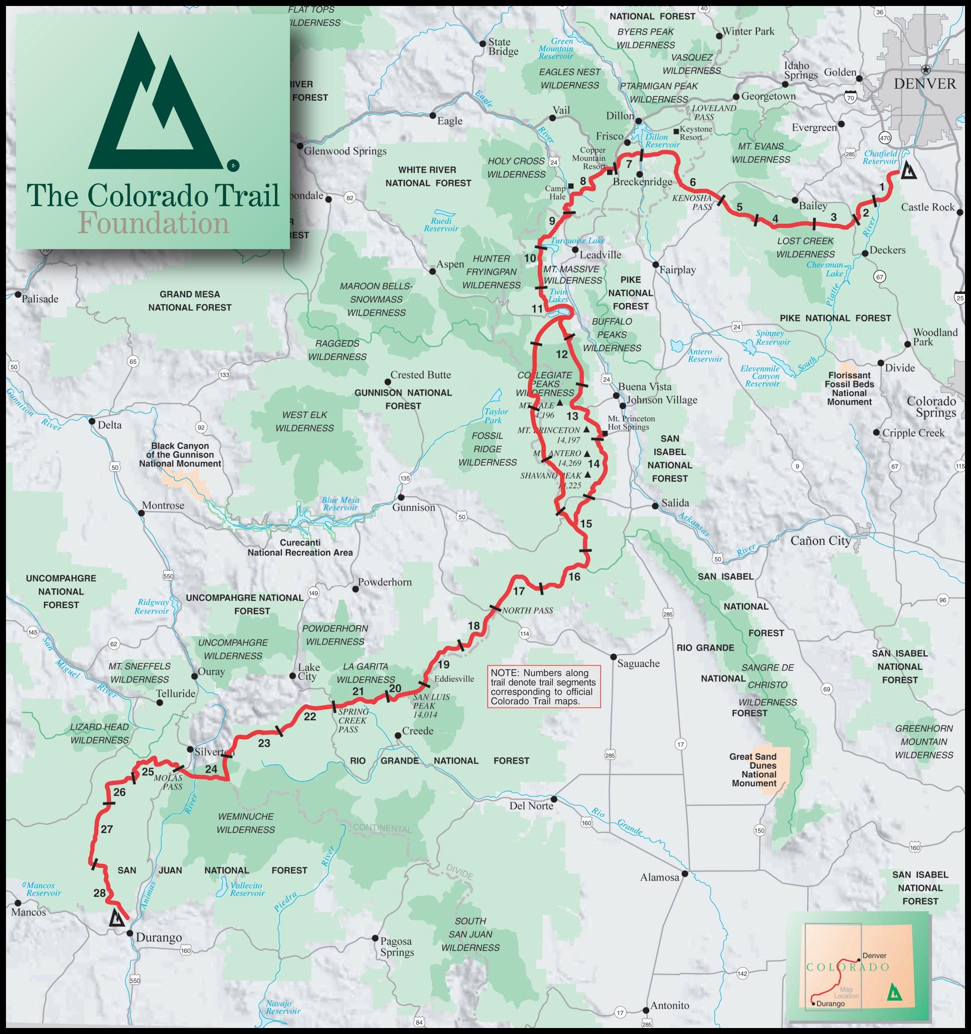 Colorado Trail (CTR) map